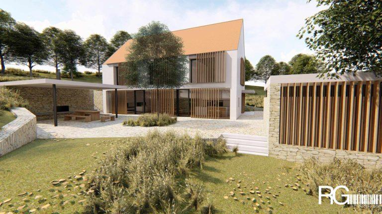 Projekt dvoupodlažního rodinného domu ve Vilsnicích u Děčína od architekta Radomíra Grafka.
