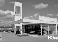Návrh autocentra AUTOPARTNER od architekta Radomíra Grafka v neotřelé, ale zároveň jednoduché designové formě.