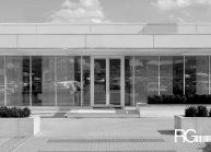 Návrh autocentra AUTOPARTNER od architekta Radomíra Grafka v neotřelé, ale zároveň jednoduché designové formě (detail vstupu).