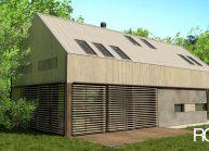Rodinný dům od architekta Radomíra Grafka – soudobá architektonická forma v tradiční venkovské zástavbě, vizualizace.