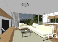 Rodinný dům od architekta Radomíra Grafka – interiér otevřeného přízemí se sedací soupravou.
