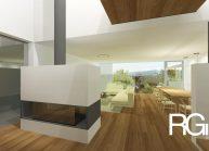 Rodinný dům od architekta Radomíra Grafka – interiér přízemí s krbem.