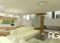 Rodinný dům od architekta Radomíra Grafka – pohled z obývací části.