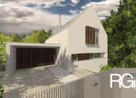 Rodinný dům od architekta Radomíra Grafka – pohled na dům ze strany s garáží.