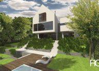 Rodinný dům od architekta Radomíra Grafka – pohled na dům ze zahrady.