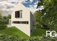 Rodinný dům od architekta Radomíra Grafka – boční pohled na dům ze zahrady.