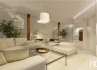 Interiér obývacího pokoje v RD v Rumburku od architekta Radomíra Grafka – vizualizace (01).