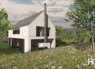 Finančně dostupný dům jednoduché architektonické formy, pohled ze zahrady