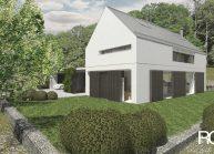 Finančně dostupný dům jednoduché architektonické formy, pohled z jihu