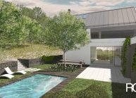 Finančně dostupný dům jednoduché architektonické formy, zapuštěná terasa s bazénem