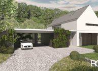 Finančně dostupný dům jednoduché architektonické formy, pohled z příjezdové cesty