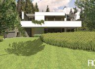 Studie minimalistického rodinného domu v Liberci od architekta Radomíra Grafka, celkový pohled