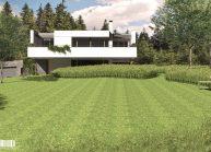 Studie minimalistického rodinného domu v Liberci od architekta Radomíra Grafka, pohled ze zahrady
