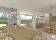 Studie minimalistického rodinného domu v Liberci od architekta Radomíra Grafka, interiér – jídelní část
