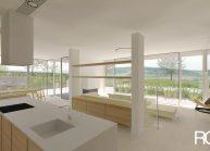 Studie minimalistického rodinného domu v Liberci od architekta Radomíra Grafka, interiér – kuchyňská část