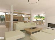 Studie minimalistického rodinného domu v Liberci od architekta Radomíra Grafka, interiér – obývací část