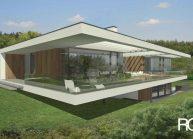 Jednoduchý minimalistický dům s plochou střechou, pohled ze zahrady