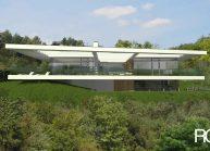 Jednoduchý minimalistický dům s plochou střechou, celkový pohled ze zahrady
