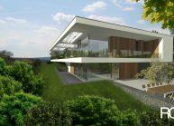 Jednoduchý minimalistický dům s plochou střechou, boční pohled ze zahrady