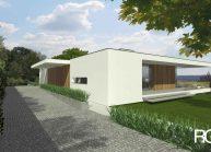 Jednoduchý minimalistický dům s plochou střechou, pohled ze zadní strany