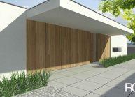 Jednoduchý minimalistický dům s plochou střechou, detail vstupu