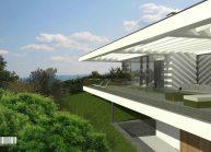 Jednoduchý minimalistický dům s plochou střechou, detail terasy