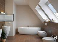 Moderní rodinný dům s dominantními střešními okny – detail koupelny.