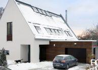 Moderní rodinný dům s dominantními střešními okny – pohled na garáž.