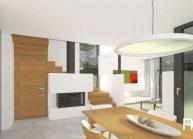 Moderní nízkoenergetický rodinný dům v Rumburku, přízemí s krbem